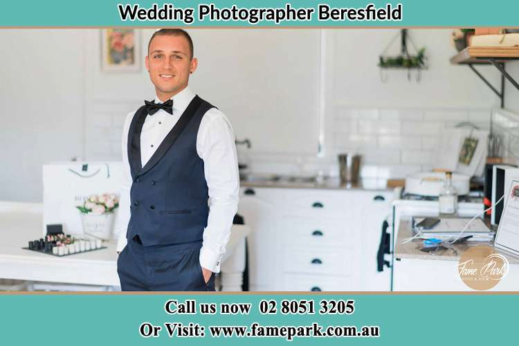 The Groom poses for the camera Beresfield