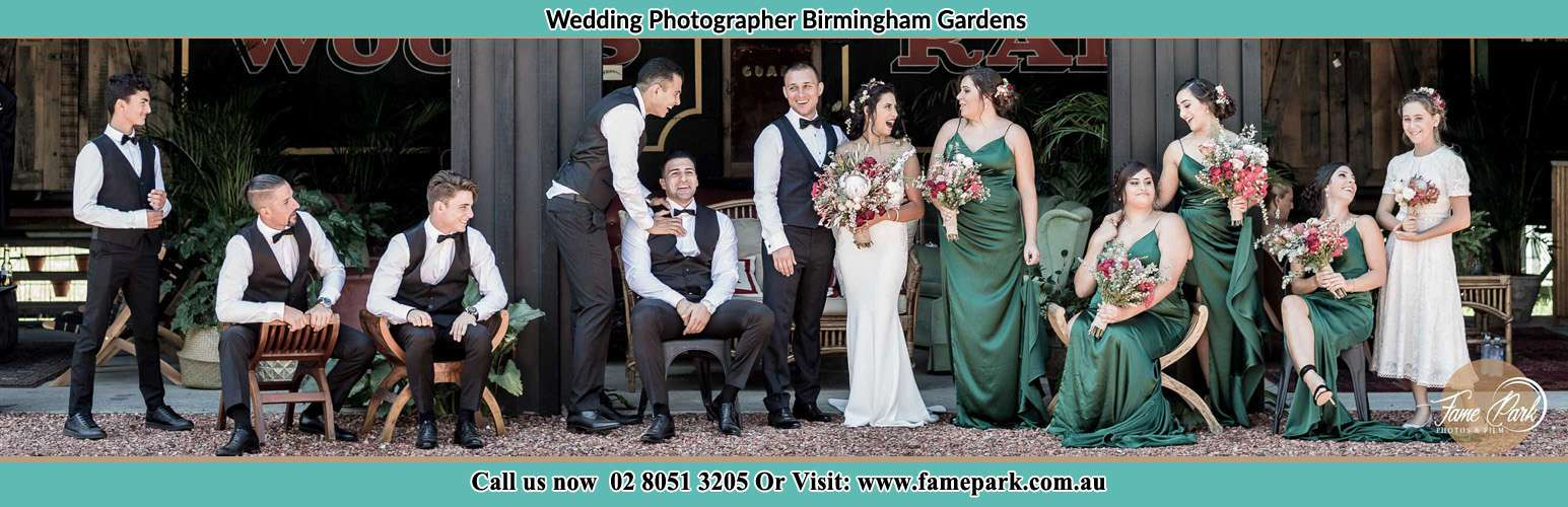 The Bride and the Groom having a chit-chat with their entourage Birmingham Gardens