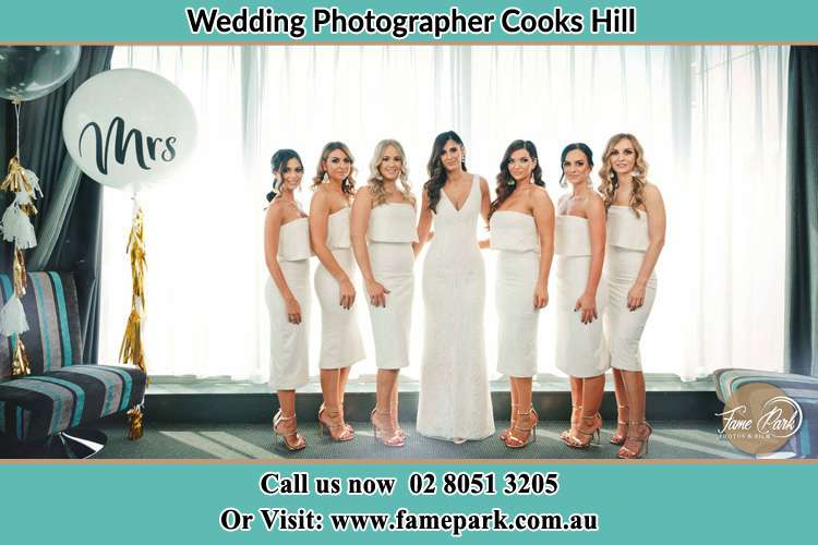 The Bride and her bridesmaids posed for the camera Cooks Hill