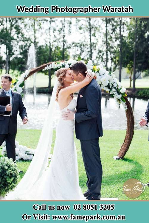 Photo of the Bride and the Groom kissing Waratah NSW 2298