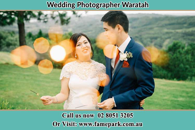 Photo of the Groom and the Bride having a nice chat at the yard Waratah